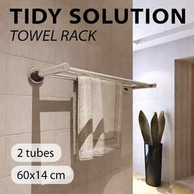 Bathroom Towel Rack Stainless Stell Holder Rail Chrome Bar Wall Mounted 1 Shelf