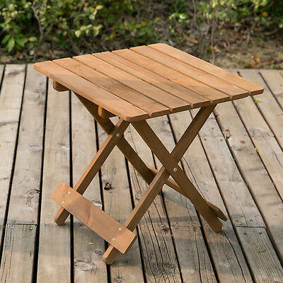 Small Wooden Coffee Table Side Table Patio Snack Table Folding Garden Table Desk