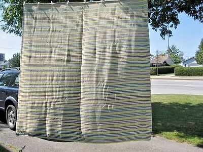 """vintage BLANKET RAG WOVEN CATALOGNE TREAD COTTON JERSEY MATERIAL 84"""" X88""""IN"""