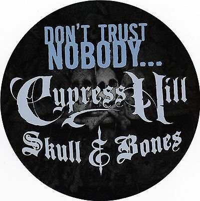 """Five (5) - CYPRESS HILL 2000 SKULL And BONES """"Don't Trust Nobody"""" Promo Stickers"""