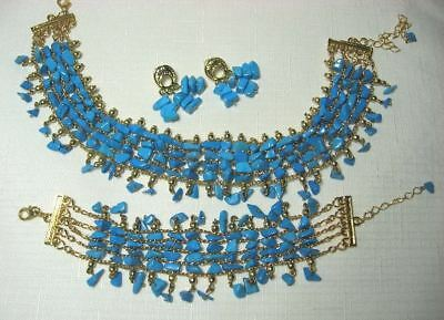 Goldtone Necklace Bracelet Earrings w Blue Stone Beads