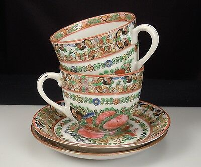 Chinese Export Porcelain 1000 Butterflies Cups & Saucers