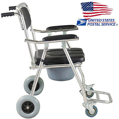 Professional Commode Wheelchair Bedside Toilet & Shower Chair Aluminum USA