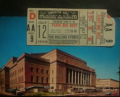 Rolling Stones Full Ticket July 12,1966 St Louis,Mo.