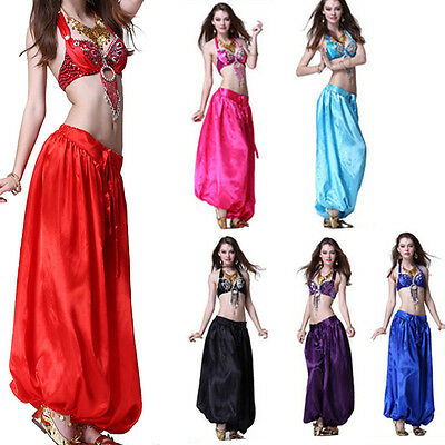 Women Girl Satin Harem Yoga Pant  Belly Dance Costume Tribal Pant  Plus size