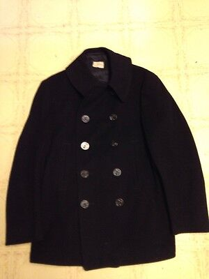 Vintage Naval Clothing Factory Mens 40 10 Button Blue Wool Peacoat Korean War