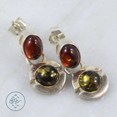 Sterling Silver   Green Amber Cabochon Disc Dangle 3.3g   Post Earrings MA4513