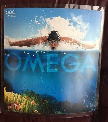 Vintage Omega Watch Dealer Wall Display Ad In Acrylic with Olympian M. Phelps