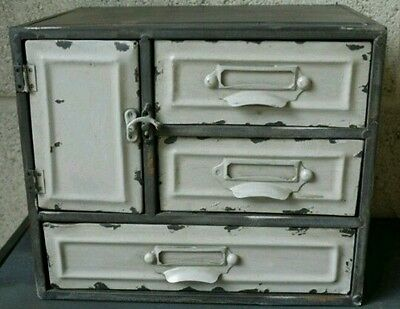Shabby Industrial chic 3 Drawer Metal Cabinet Storage Cupboard Vintage style
