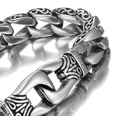 Mens 316L Stainless Steel Bracelet Solid Cuban Curb Link Wrist Bangle Silver New