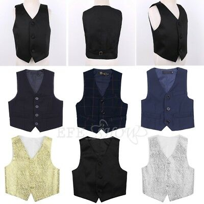 Toddler Child Kids Boy Party Wedding Vest Waistcoat Formal Tuxedo Suit Costcoat