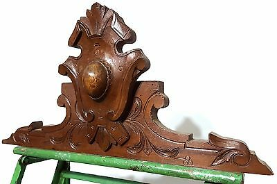 Carved Wood Pediment Antique French Coat Of Arms Salvaged Mount Cornice Crest