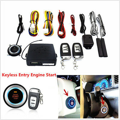 Car Keyless Entry Engine Start Push Button Remote Starter Alarm Security System