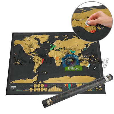 Deluxe Travel Edition Scratch Off World Map Poster Journal Log Gift 30 x 42cm