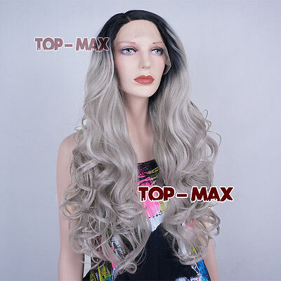 New 24 Inches Black Mixed Gray Ombre Long Curly Women Lace Front Wig