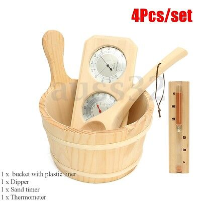 4pcs/set Sauna Accessory Kit Pine Wood Bucket Dippers Sand Timer Thermometer