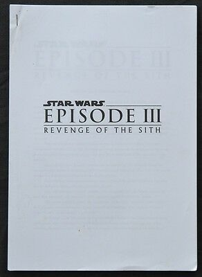 STAR WARS Episode III Revenge Of The Sith RARE 42 page Media Production notes