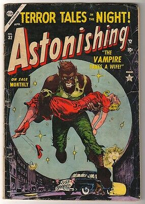 MARVEL comics ASTONISHING 32  VG 4.0  VAMPIRE TAKES WIFE KIRBY DITKO GOLDEN AGE