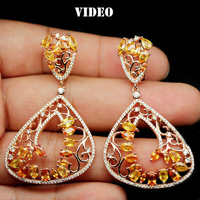 Excellent! Natural! Yellow Sapphire & White Cz Sterling 925 Silver Earrings