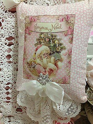 Shabby ~ Santa Clause ~Pink Roses ~ Lace ~Rhinestone ~ Christmas Hanging Pillow