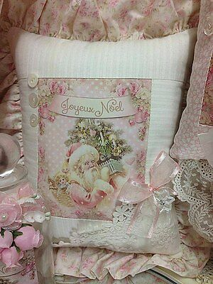 Shabby ~ Santa Clause ~ Pink Roses ~ Lace ~ Rhinestone ~ Christmas Pillow