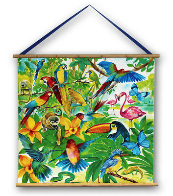 Jungle Animals Canvas Wall Hanging Scroll Monkeys Parrots Snakes