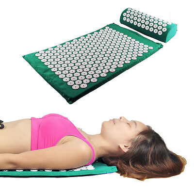 Acupressure Mat and Pillow Set Head Neck Pain Relief  Massage Muscle Relaxation