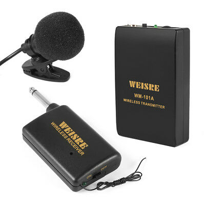 Wireless Clip-on Lavalier Lapel Tie Microphone System Mic FM Transmitter TH641