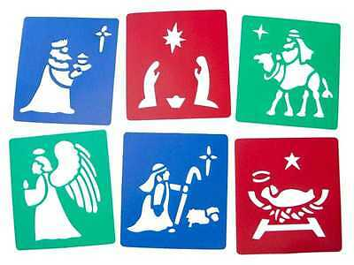 6 Piece Christmas Stencils Festive Xmas Nativity Tree/Santa/Snowman/Angel