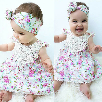 Newborn Baby Girl Kid Floral Sundress Clothes Toddler Outfit Dress Headband Sets