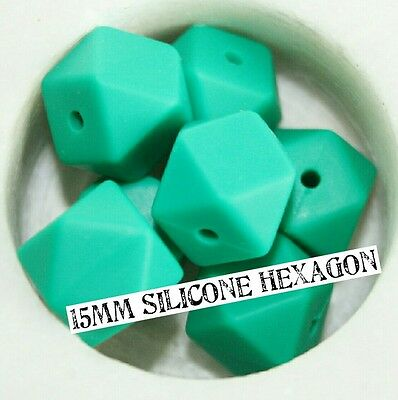 Silicone Beads X10 green Hexagon (was Teething) chew 15mm for necklace bpa free