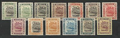Brunei: 13 Diff. stamps between 13-68, years 1907 to 1951 rust stain...BRU01