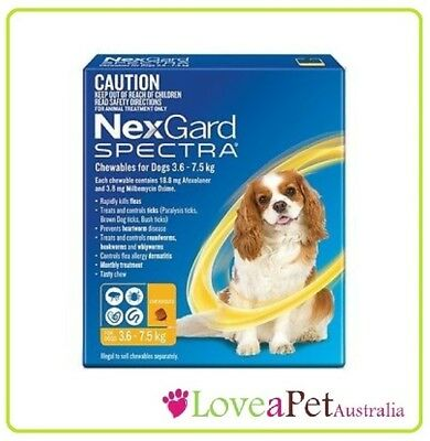 NEXGARD SPECTRA 3.6 TO 7.5 KG (Yellow) - The ALL IN ONE CHEW FOR SMALL DOGS