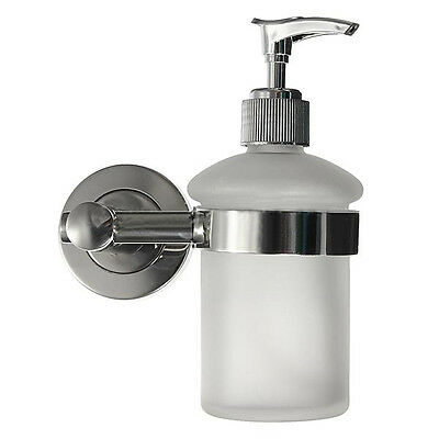 Wall Mount Bathroom Frosted Glass Shampoo Liquid Soap Dispenser&Holder Chrome