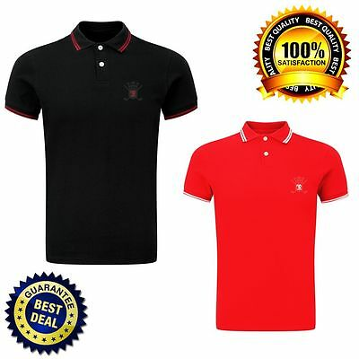 Men's Cotton Contrast Tipped Polo Shirt New T-shirts Tee Top Tipped Collar