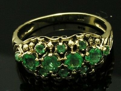 R279 Genuine 9K Solid Yellow Gold NATURAL Emerald Cluster Anniversary Ring size8