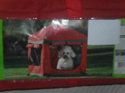 Portable Camping Travel Dog Pet Kennel Tent. Red Canvas. Suit Small/Medium Dog.