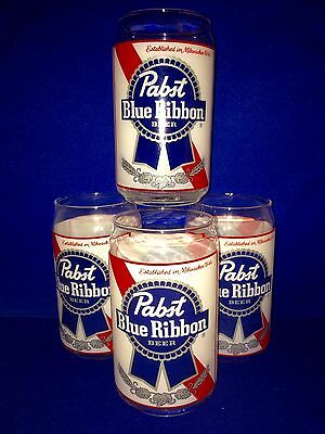 Pabst Blue Ribbon PBR Retro Can Glass 16 Oz. Beer Glasses ~ Set Of Four (4) NEW