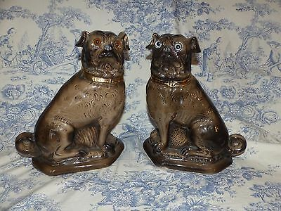 Pair Large Pottery Pugs - Bo'ness ? - Pair Antique Pugs - Victorian Pug Dogs