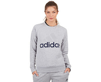 Adidas Women's Essentials Linear Sweatshirt - Grey Heather