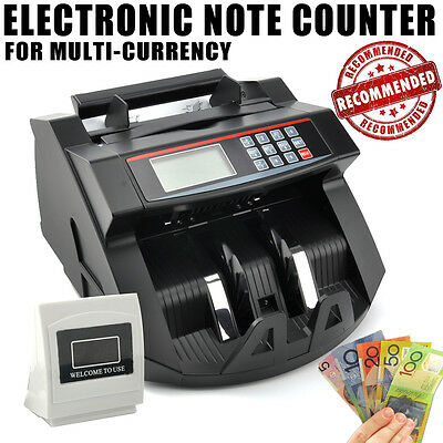 Australian Money Note Bill Currency Counter Counting Machine Detector Cash Black
