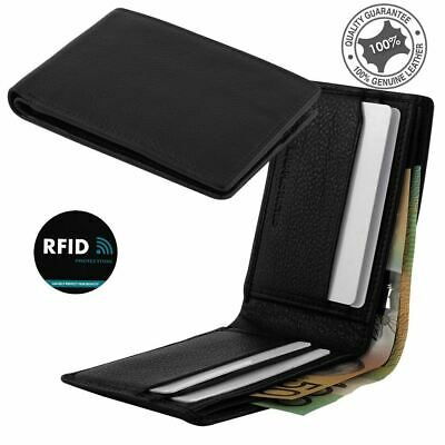 Men's Small Slim Wallet Genuine Premium Leather RFID Blocking 4 Cards Black New