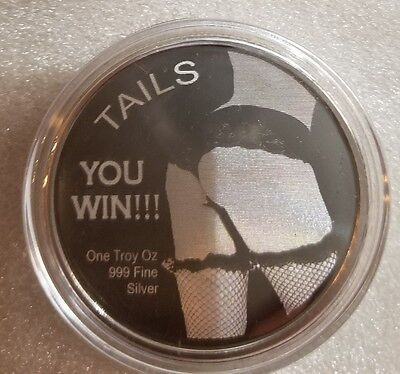 1 oz. 999 silver coin head and tails beautiful nude women adult novelty