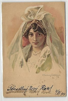 Russia, Young Elegant Russian Lady, Type, Old Artist Signed Postcard