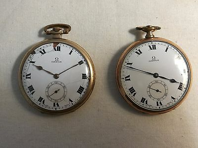 2 x Rare 1920s Vintage Omega Swiss Rolled Pink/ Rose Gold Pocket Watches