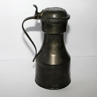 Antique Large Size Solid Pewter Scottish Flagon Gc