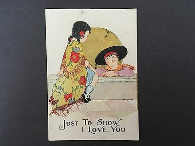Vintage Valentine Card Boy and Girl Die Cut Out 1920's - 30's by Carrington Co.