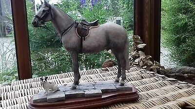 Large Horse and Jack Russel Border Fine Arts.Faithful Friends -greyhorse B0942A