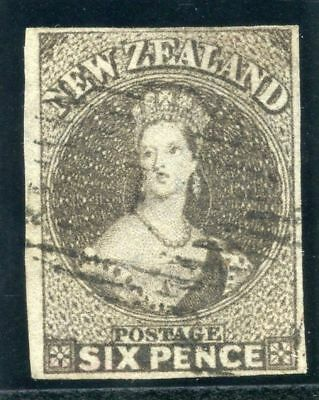 New Zealand 1862 QV 6d black-brown very fine used. SG 41. Sc 41d.