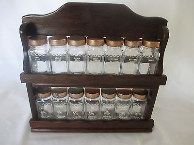 ANTIQUE WOOD SPICE RACK w/2 SHELVES & 14 JARS by CRYSTAL FOOD PRODUCTS
